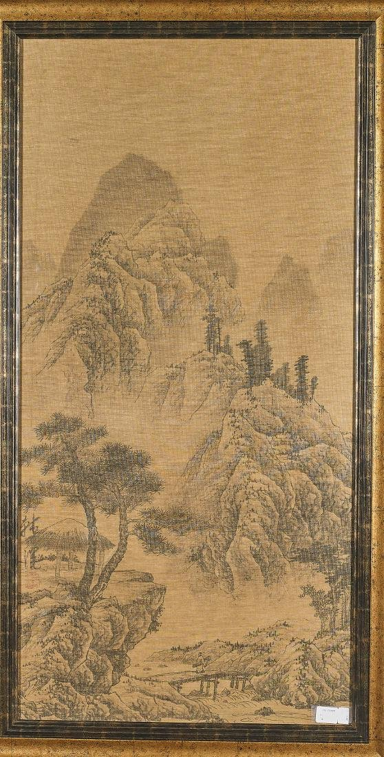Chinese Silk Scroll Painting After Han Huang
