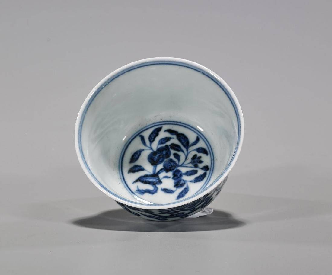 Kangxi-Style Blue & White Porcelain Cup - 2