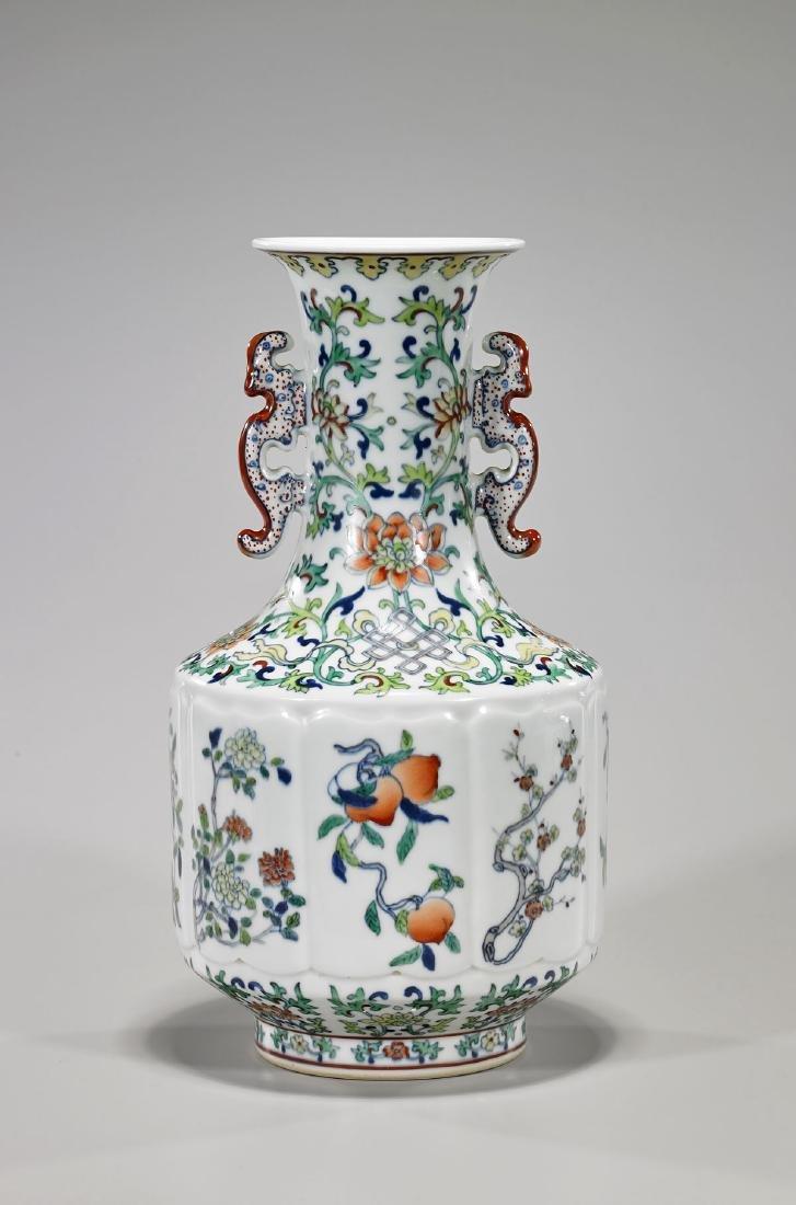 Chinese Qing-Style Doucai Enameled Porcelain Vase