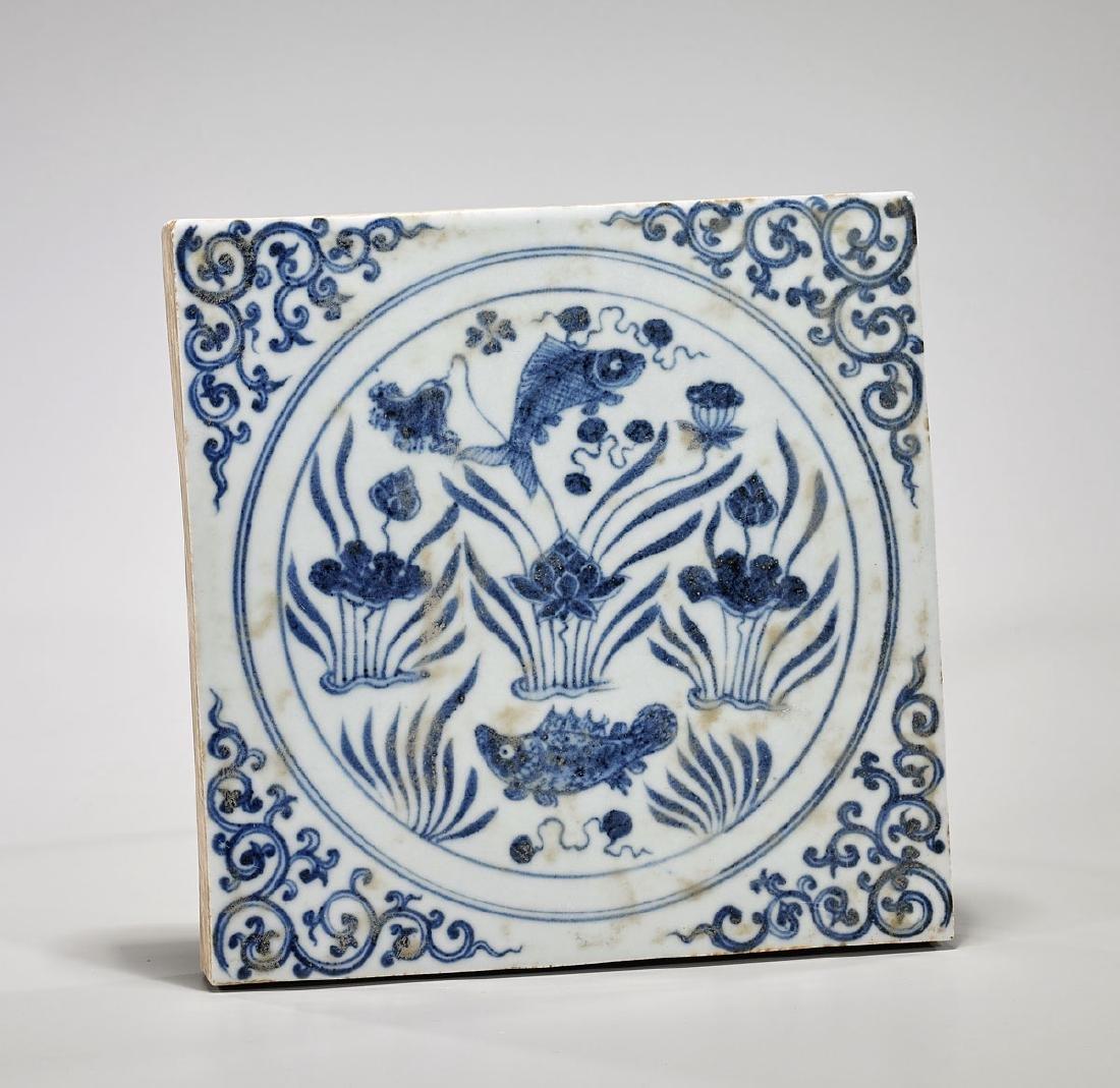 Yuan-Style Blue & White Porcelain 'Fish' Tile