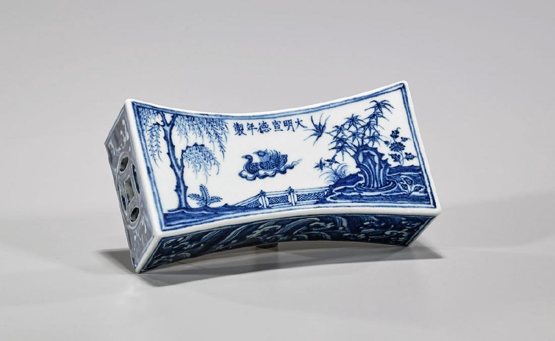 Chinese Ming-Style Blue & White Porcelain Pillow