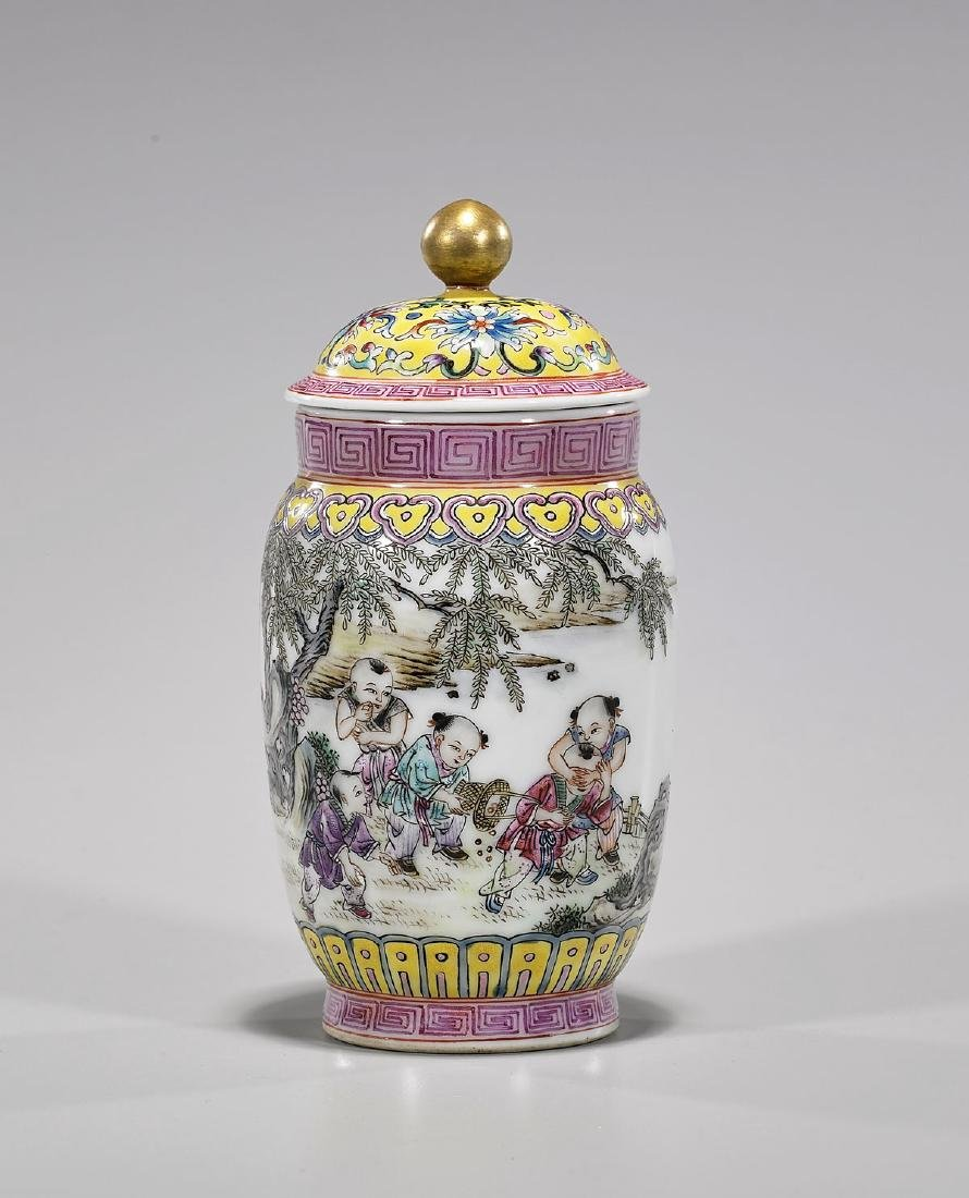 Small Chinese Republic-Style Enameled Porcelain Covered