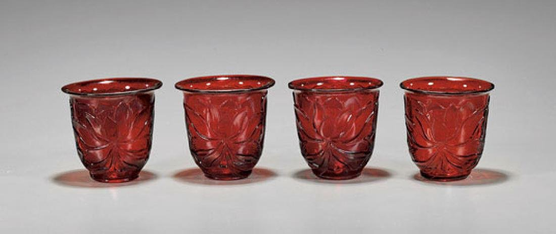 Four Antique Beijing Glass Cups