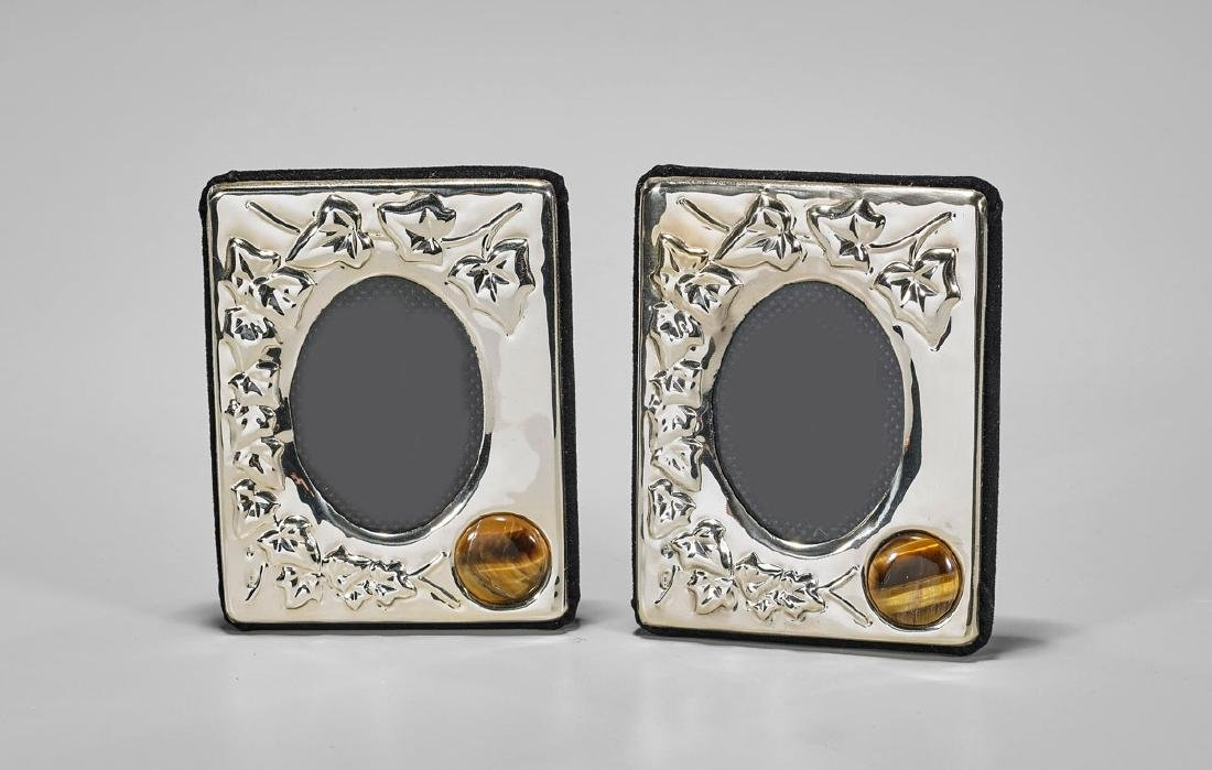Pair Sterling Silver Frames with Tiger Eye