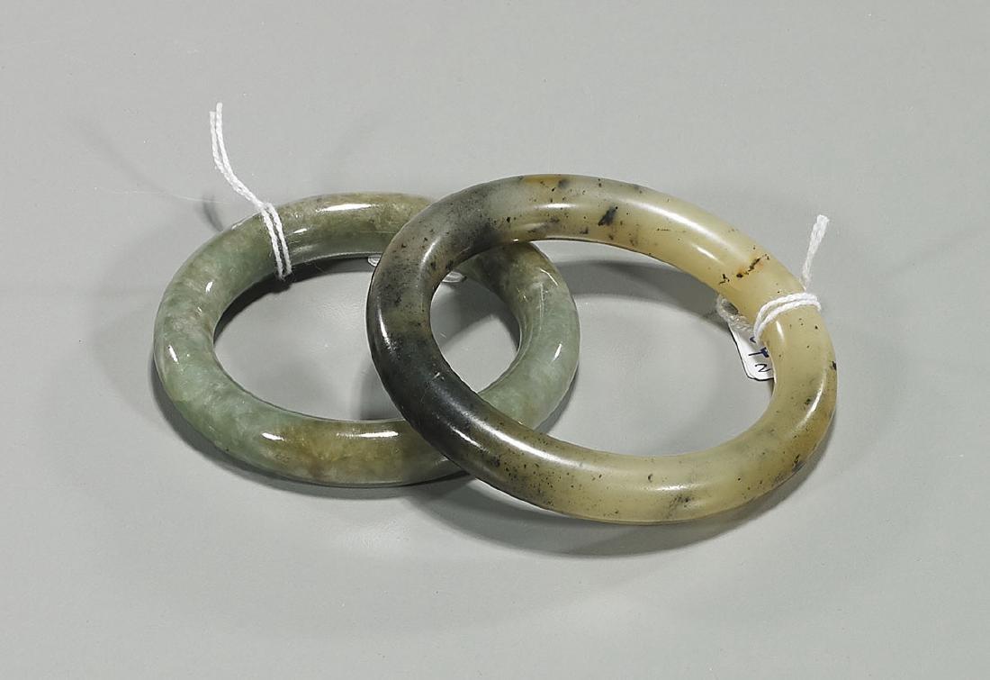 Two Jadeite & Hardstone Bangles