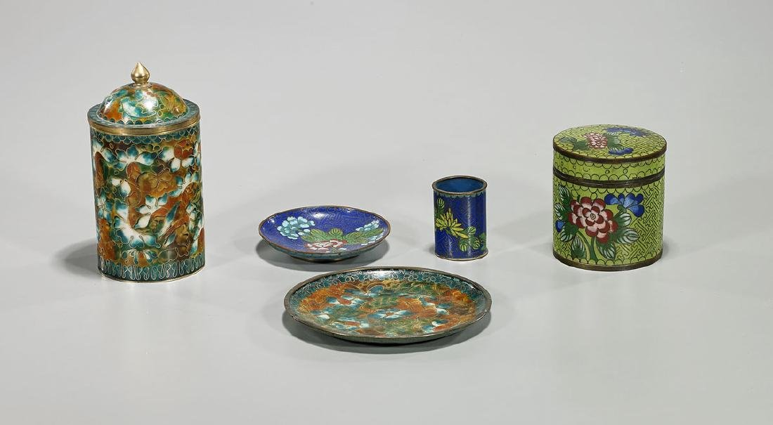 Five Chinese & Japanese Cloisonne Enamels