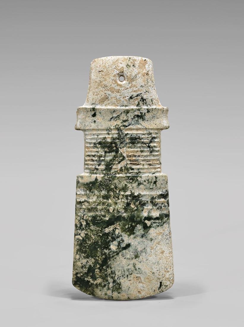 SHANG DYNASTY CARVED JADE AXE