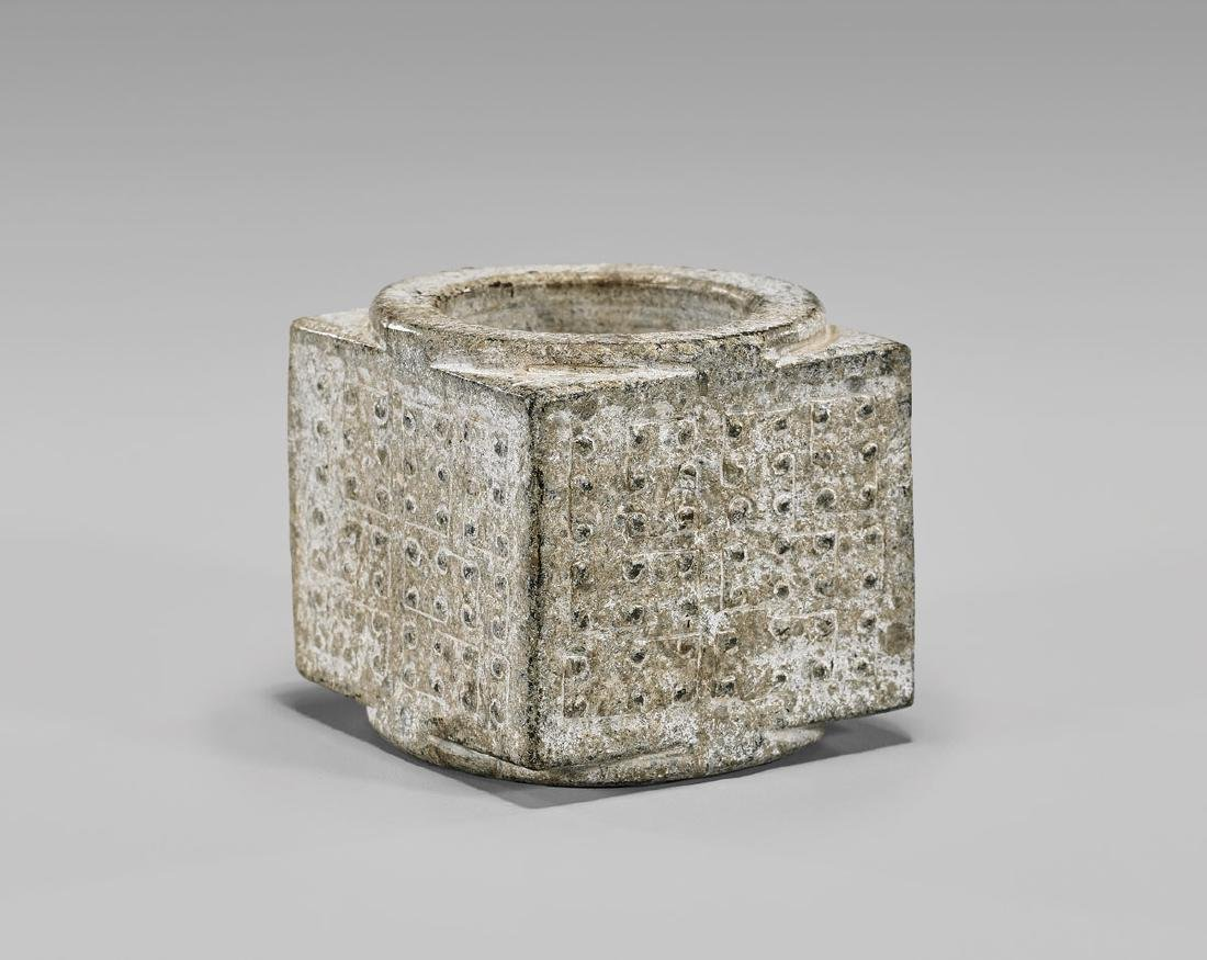 HAN DYNASTY CARVED JADE 'CONG'