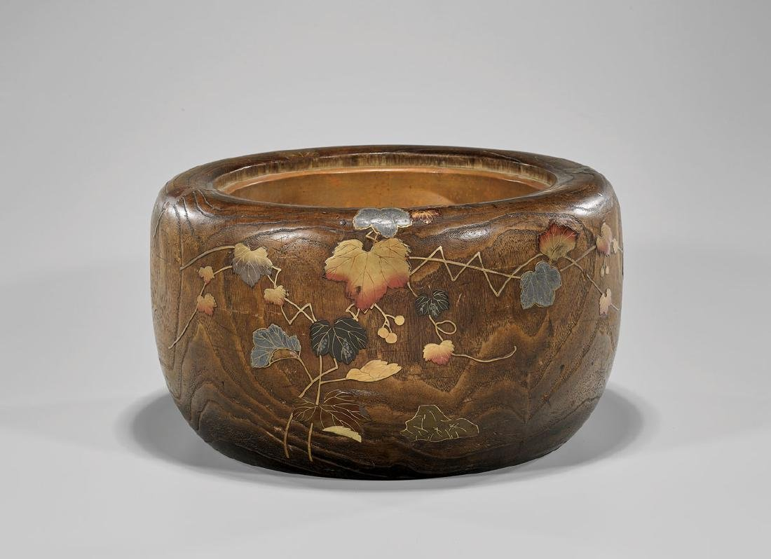 JAPANESE LACQUER-DECORATED WOOD HIBACHI
