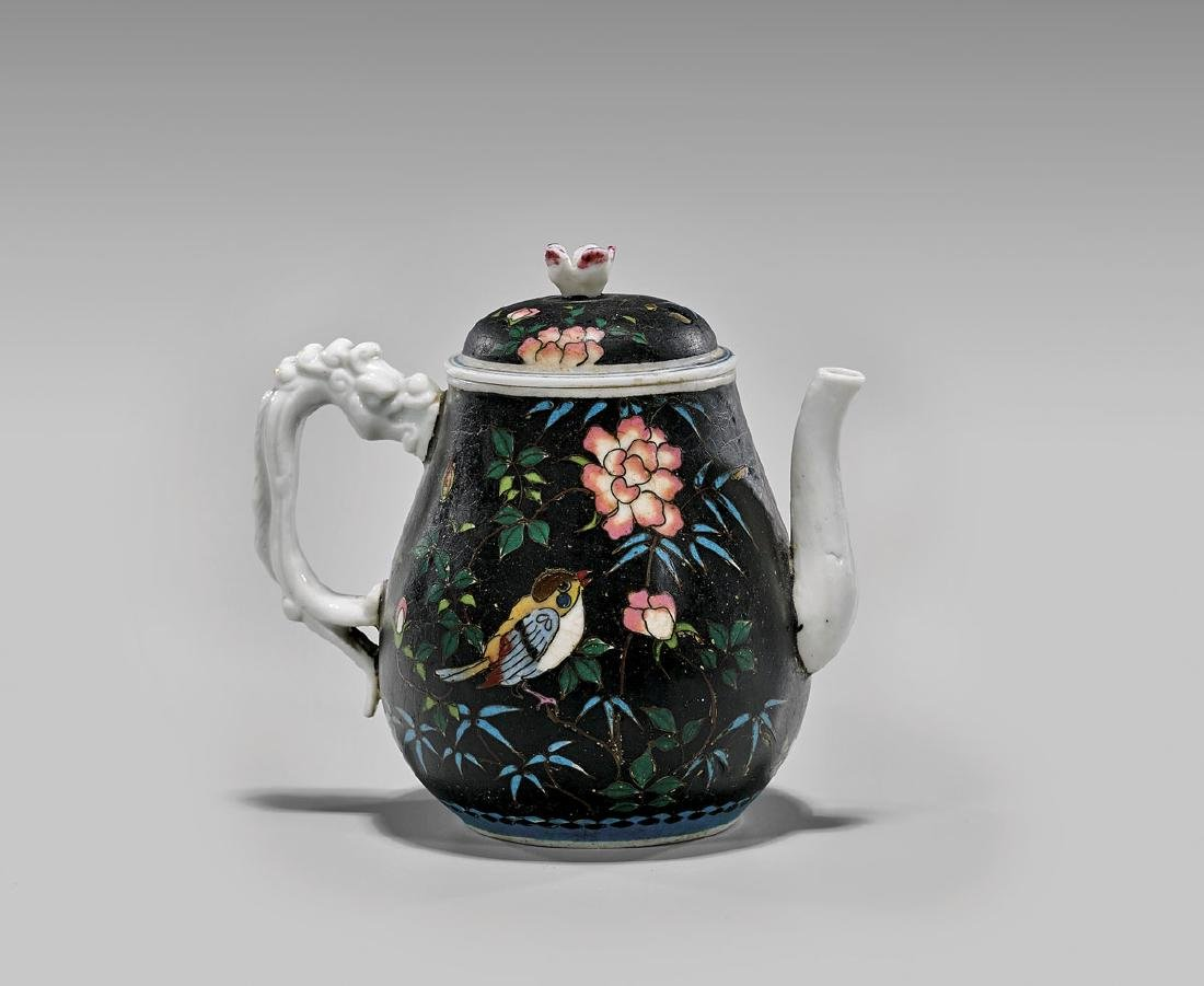 ANTIQUE CLOISONNE ON PORCELAIN TEAPOT