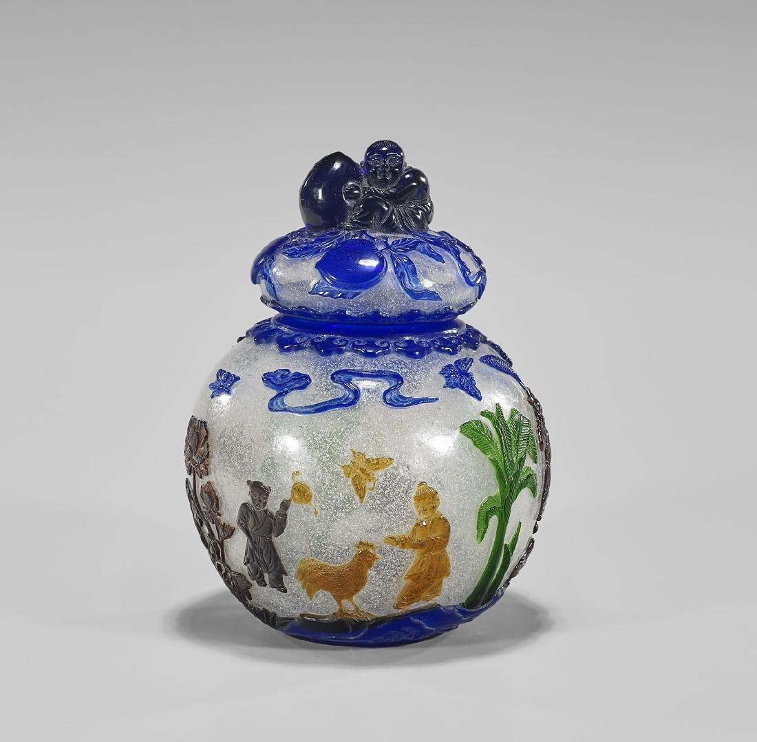 CHINESE MULTI-COLOR OVERLAY GLASS JAR