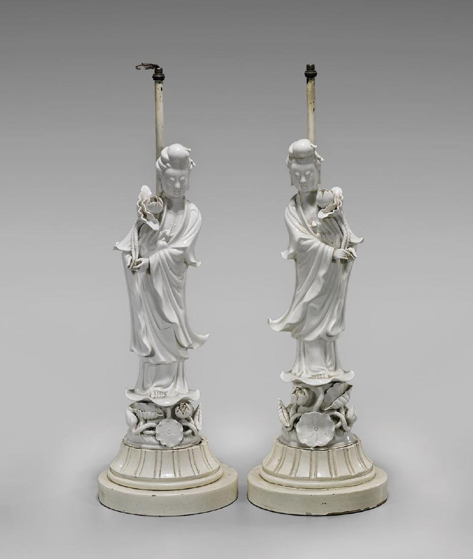 PAIR ANTIQUE BLANC DE CHINE FIGURES OF GUANYIN