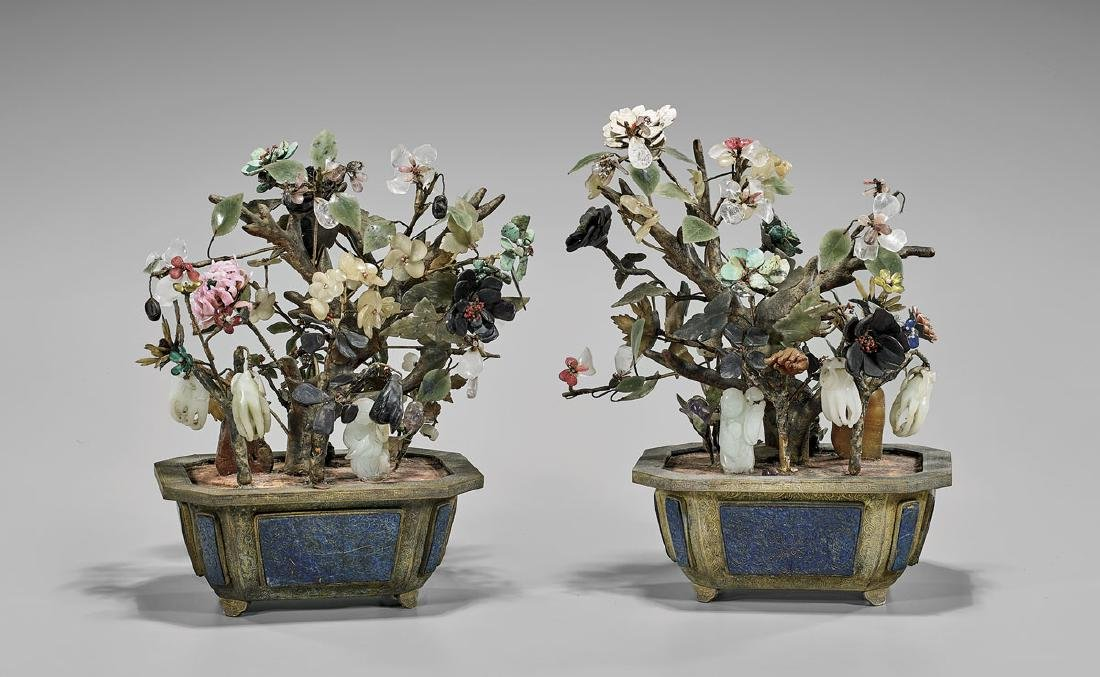 PAIR CHINESE JADE & MULTI-STONE FLOWERING 'TREES'