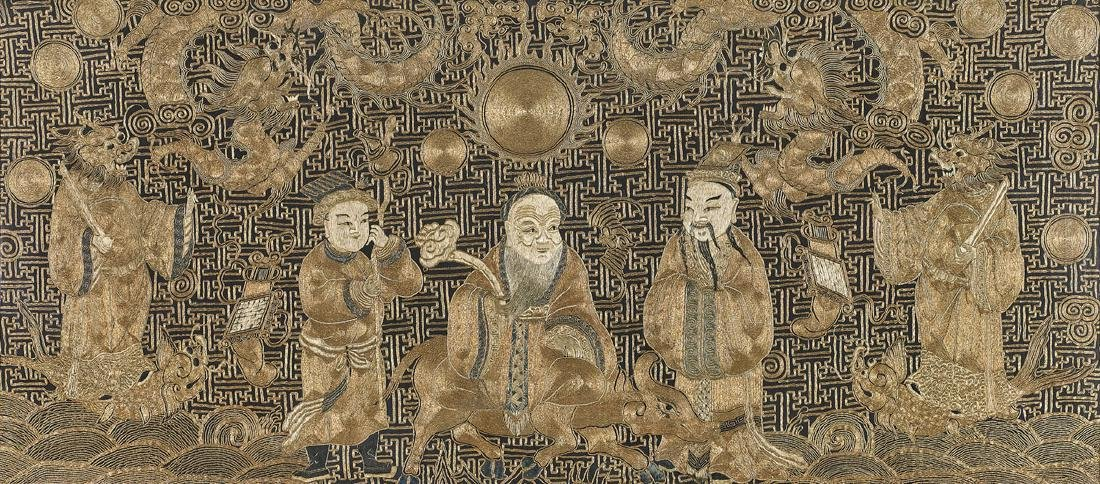 ANTIQUE CHINESE GOLDWORK & SILK EMBROIDERY