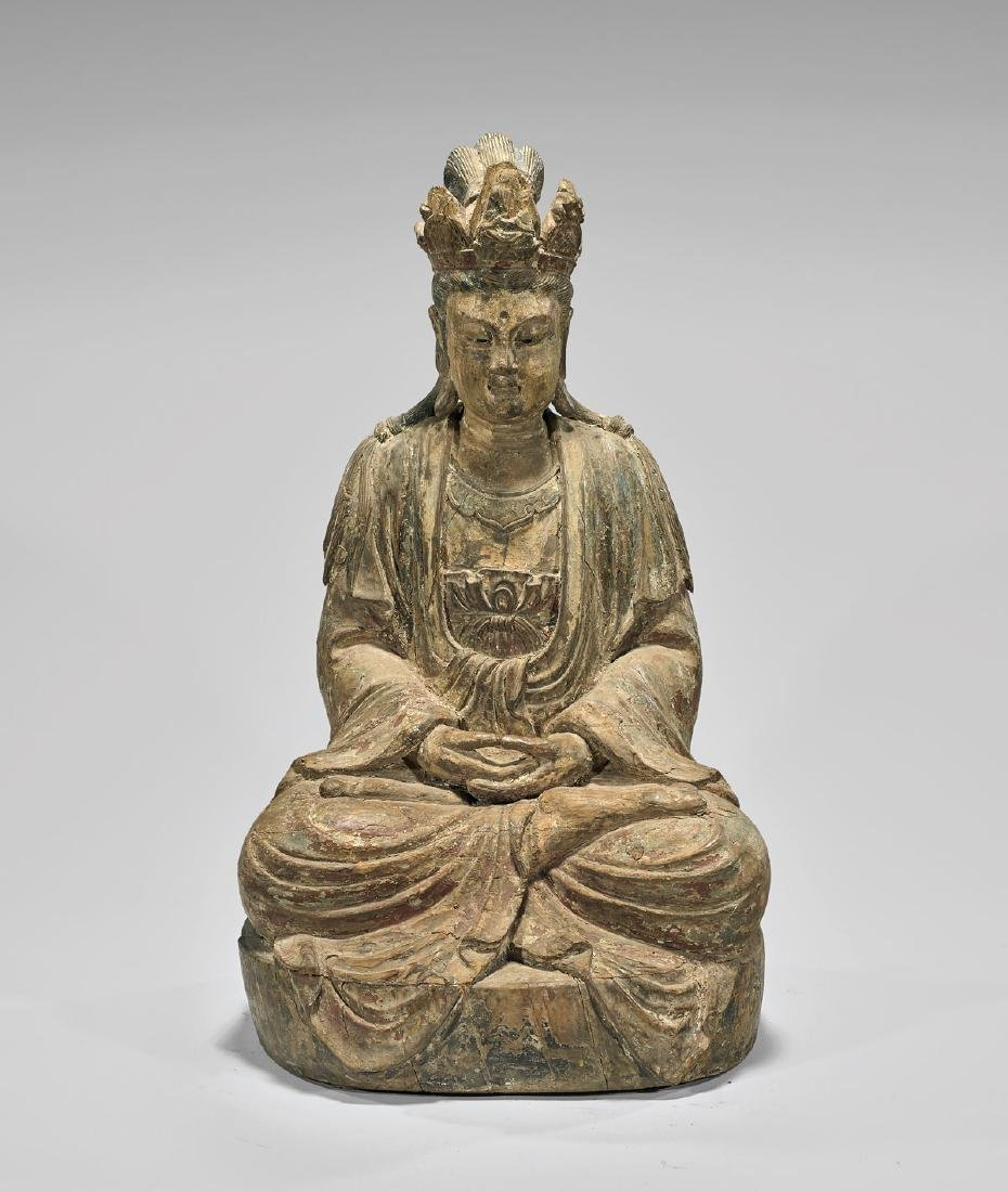 LARGE MING DYNASTY CARVED WOOD GUANYIN