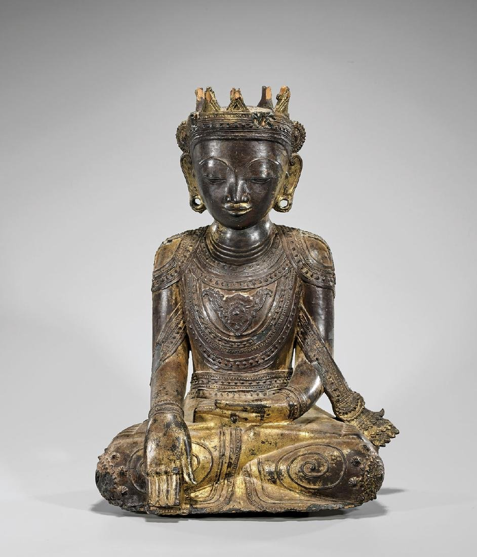 ANTIQUE GILT & LACQUERED WOOD BUDDHA