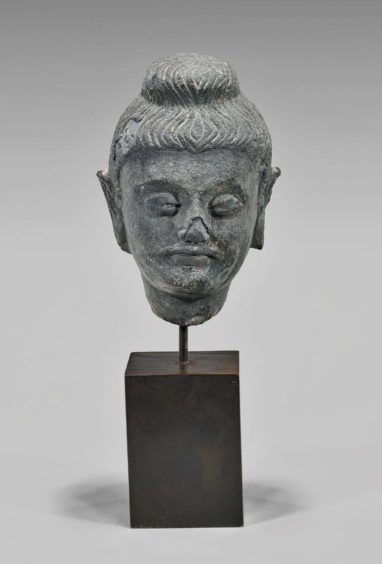 GANDHARAN GREY SCHIST HEAD OF BUDDHA