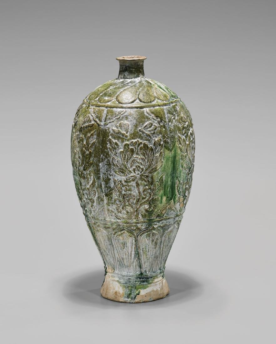 TALL TANG DYNASTY GLAZED POTTERY VASE