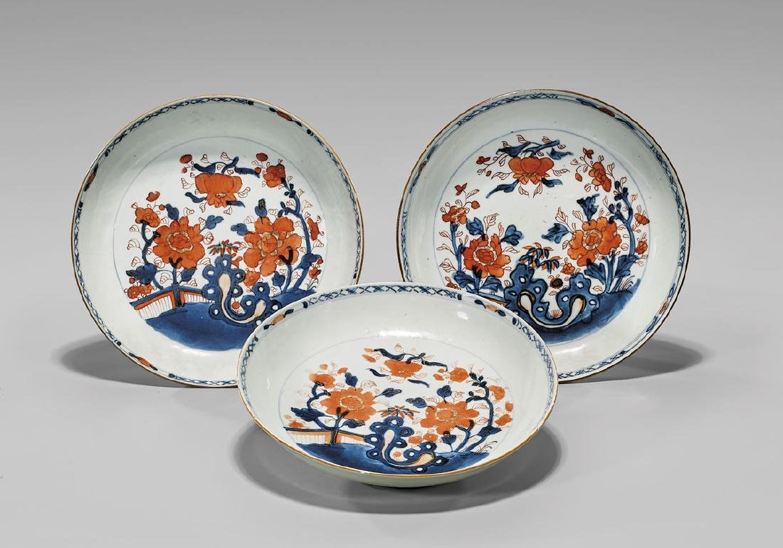 SET OF THREE ANTIQUE CHINESE 'IMARI' PORCELAIN BOWLS