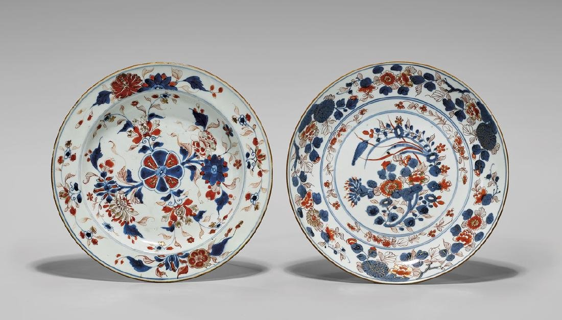TWO ANTIQUE EXPORT 'IMARI' PORCELAIN DISHES