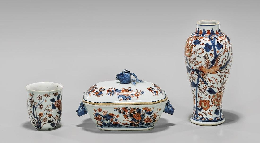 THREE ANTIQUE CHINESE EXPORT PORCELAINS