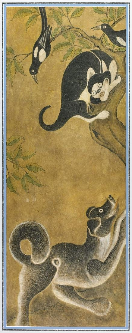 KOREAN PAINTING ON PAPER: Cat & Dog