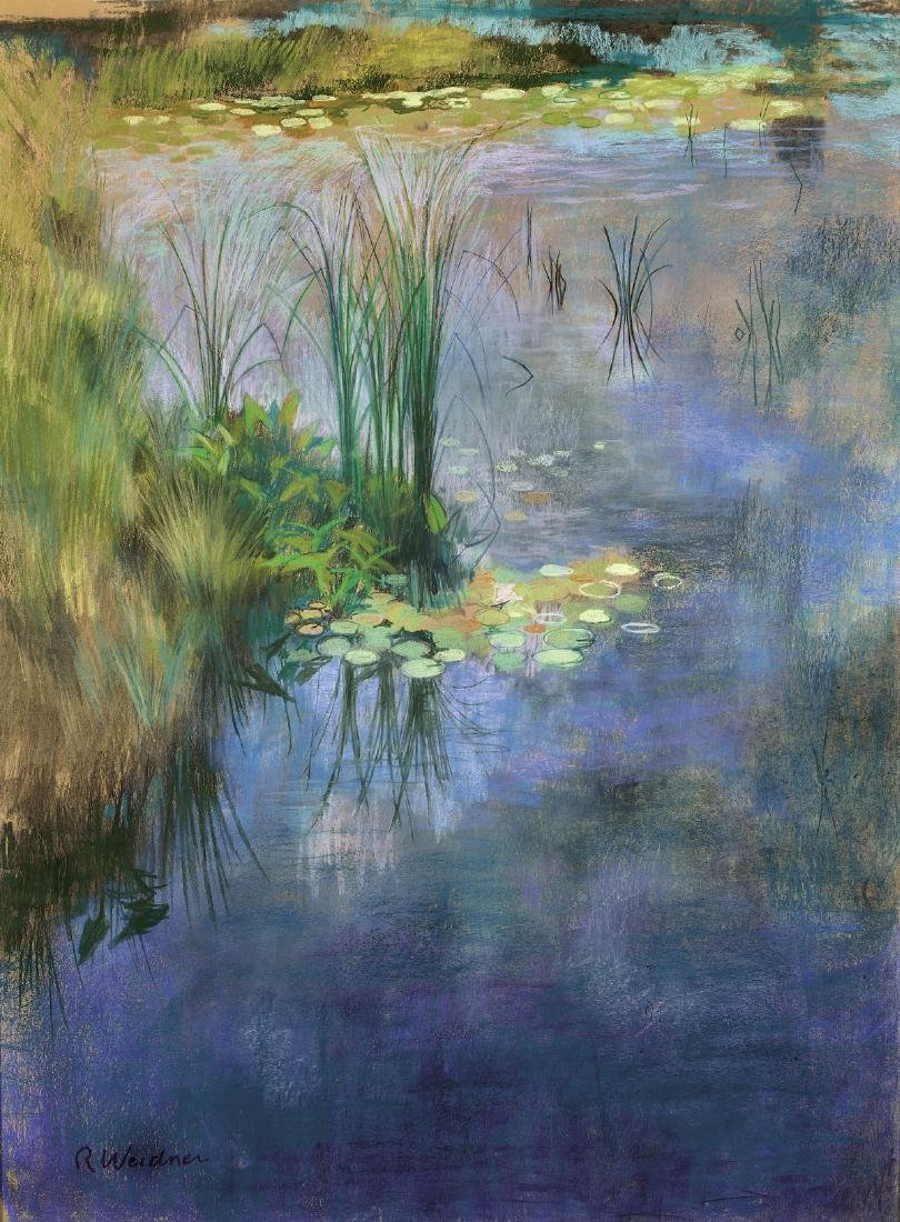 PASTEL BY ROSWELL THEODORE WEIDNER: Water's Edge