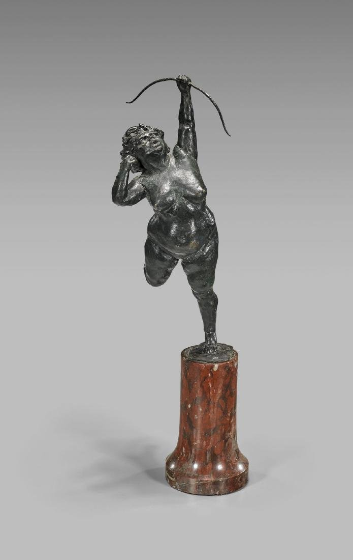 ANTIQUE BRONZE SCULPTURE OF AN ARCHER
