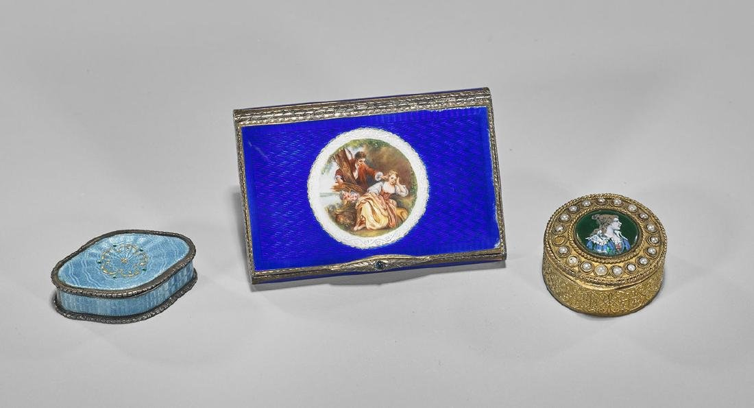 GROUP OF THREE CONTINENTAL ENAMELED BOXES