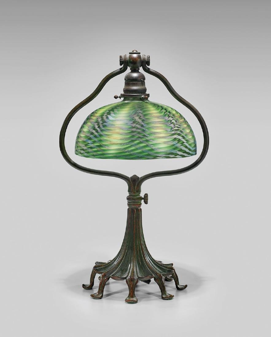 TIFFANY STUDIOS FAVRILE GLASS & BRONZE TABLE LAMP