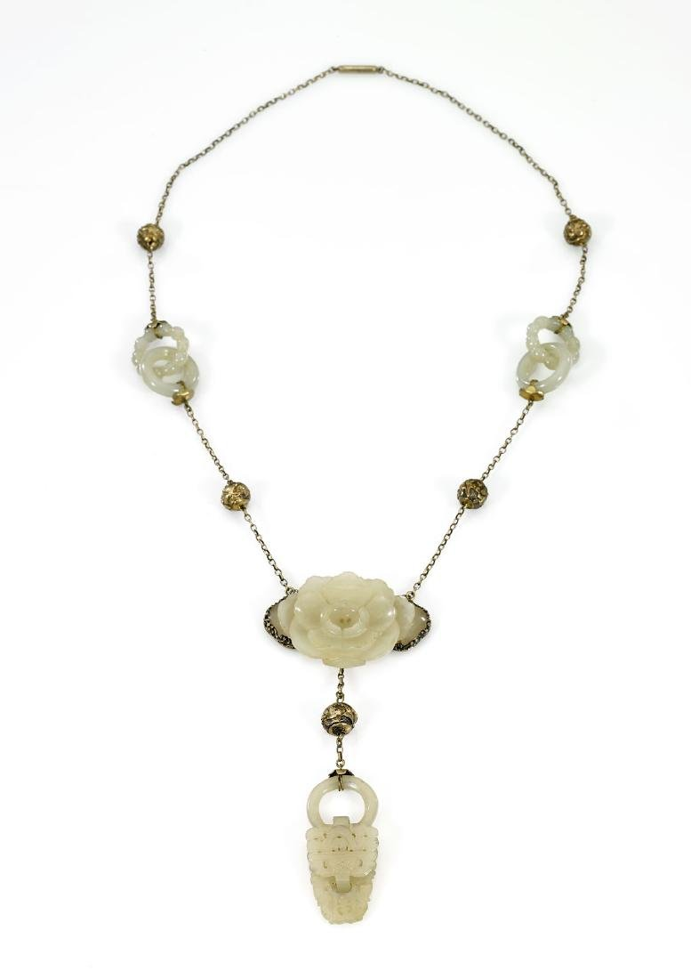 ANTIQUE CHINESE JADES ON STERLING NECKLACE