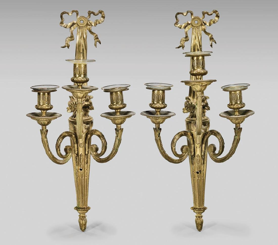 PAIR ANTIQUE FRENCH GILT BRONZE SCONCES