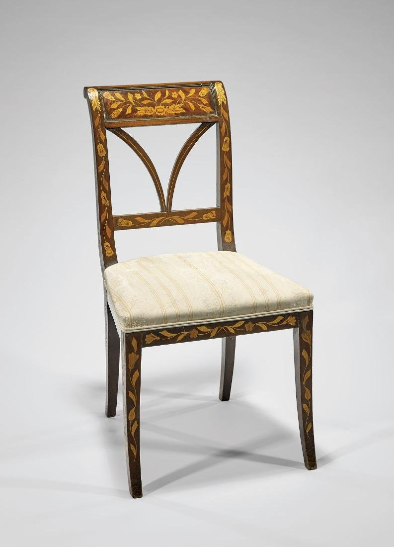 ANTIQUE CONTINENTAL MARQUETRY WOOD CHAIR