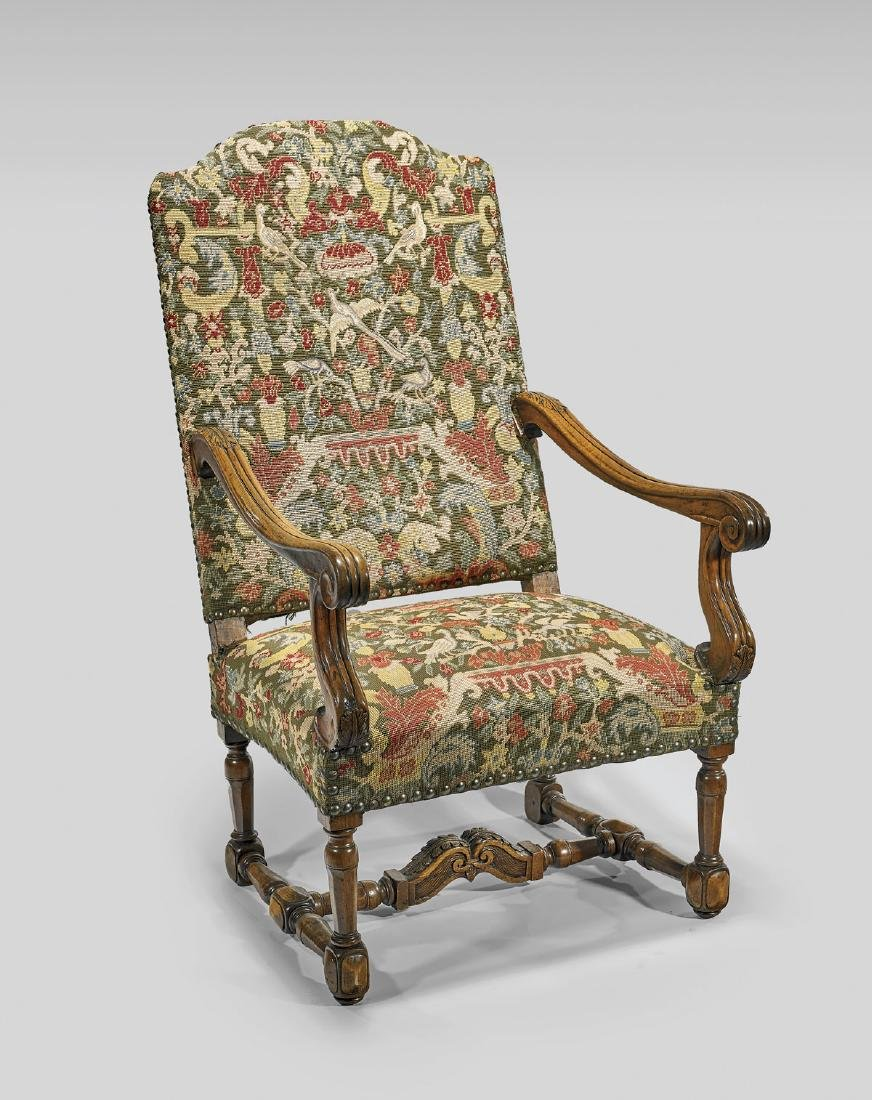ANTIQUE FRENCH UPHOLSTERED WOOD ARMCHAIR