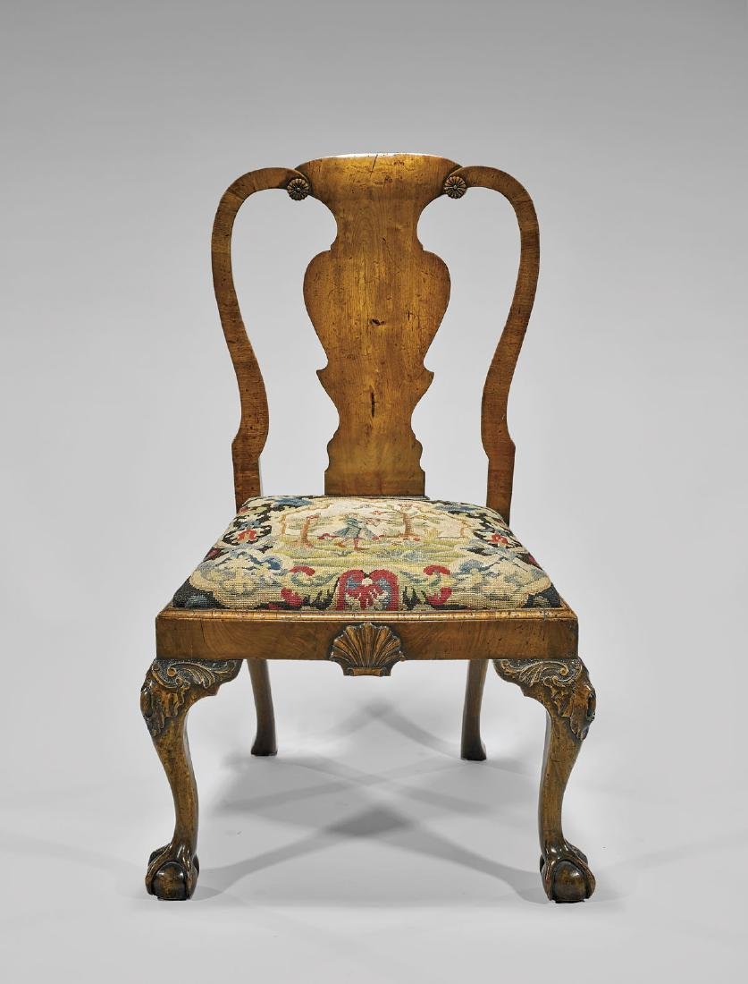 GEORGE II UPHOLSTERED WALNUT CHAIR