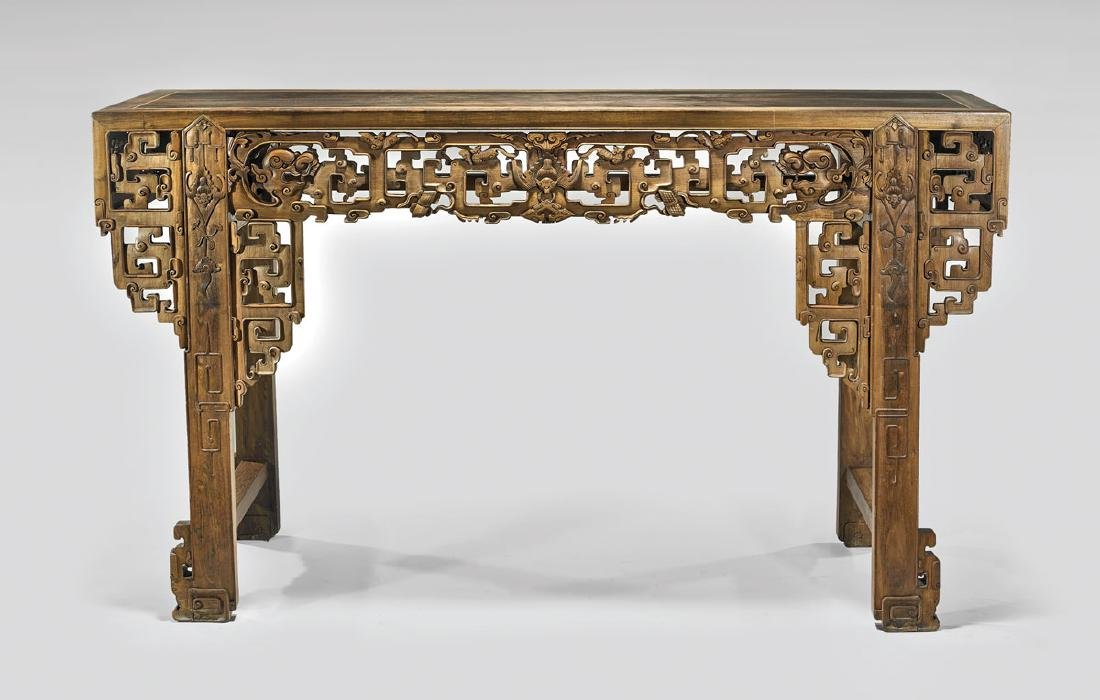 MASSIVE CHINESE CARVED WOOD ALTAR TABLE