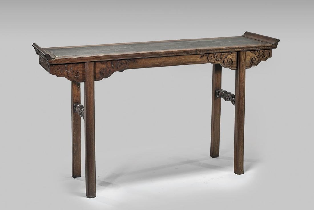 CHINESE LACQUER-INSET HARDWOOD ALTAR TABLE
