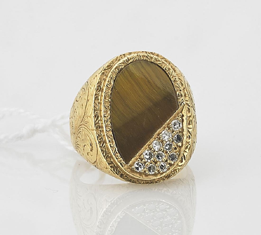 Tiger Eye, Diamond & 18K Yellow Gold Ring
