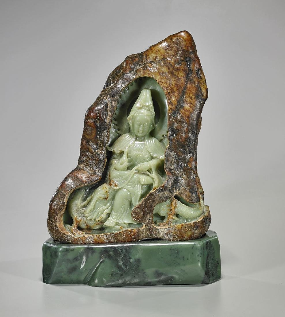 Large Chinese Carved Jade Guanyin Group
