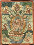 Two Old SinoTibetan Painted Thangkas