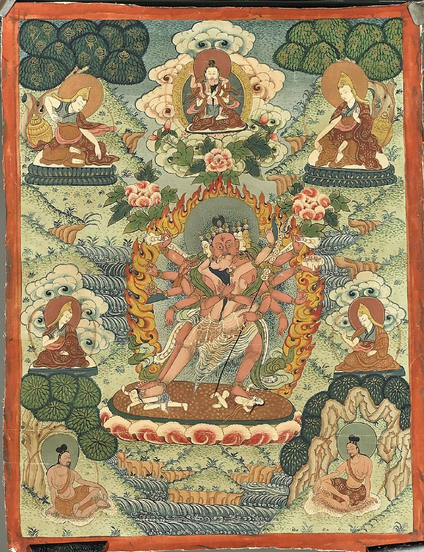 Two Old Sino-Tibetan Painted Thangkas