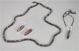 Group of Four Chinese Dzi-Type Beads & Necklace