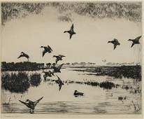 Etching By Frank W. Benson: Evening Flight