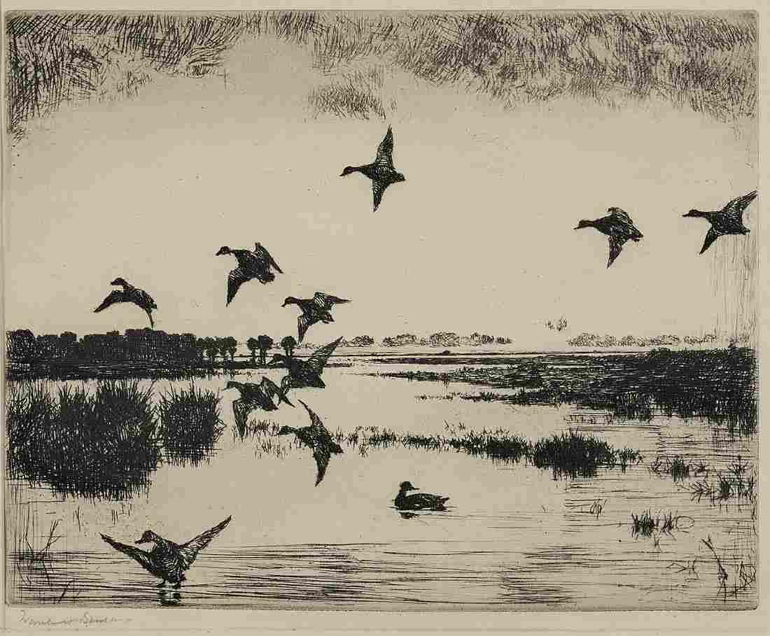 Etching By Frank W. Benson: Evening Flight