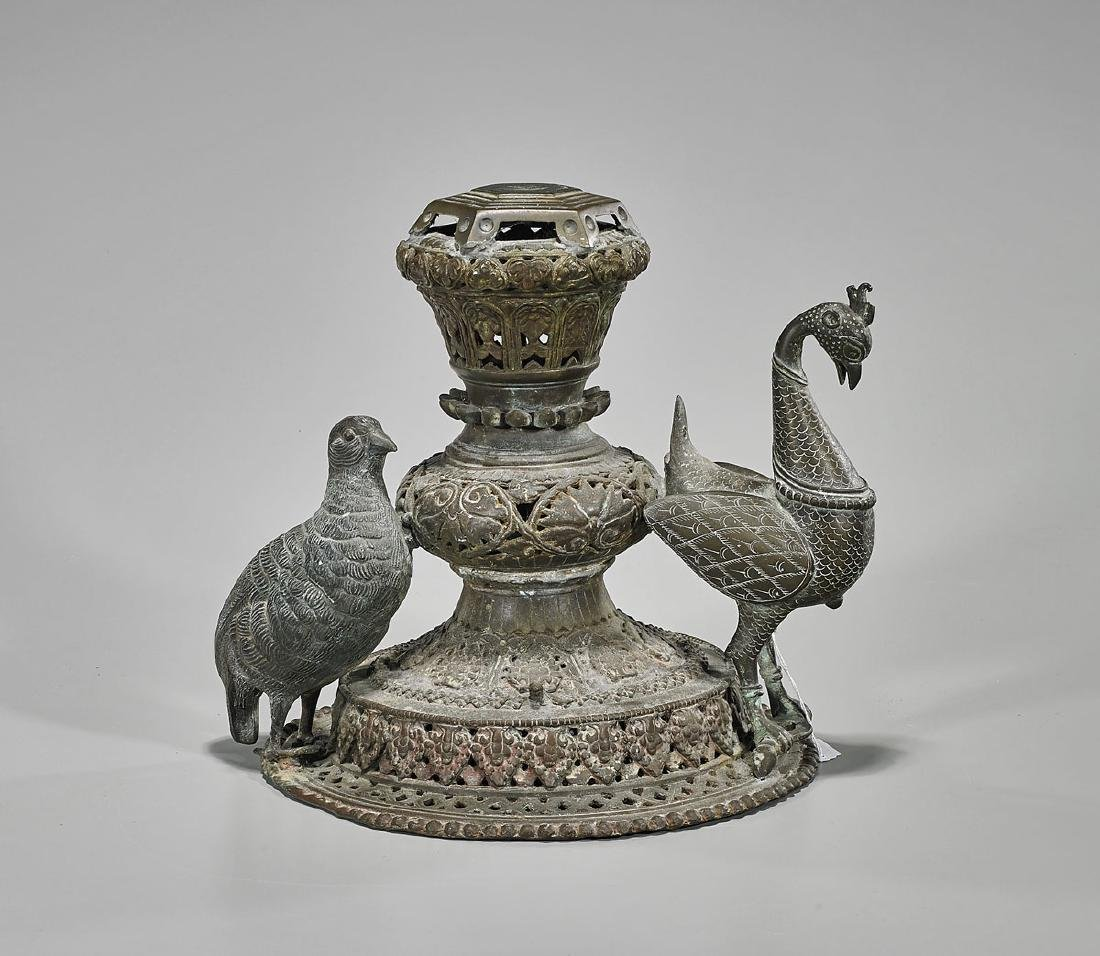 Old & Elaborate Indian Bronze Censer Cover