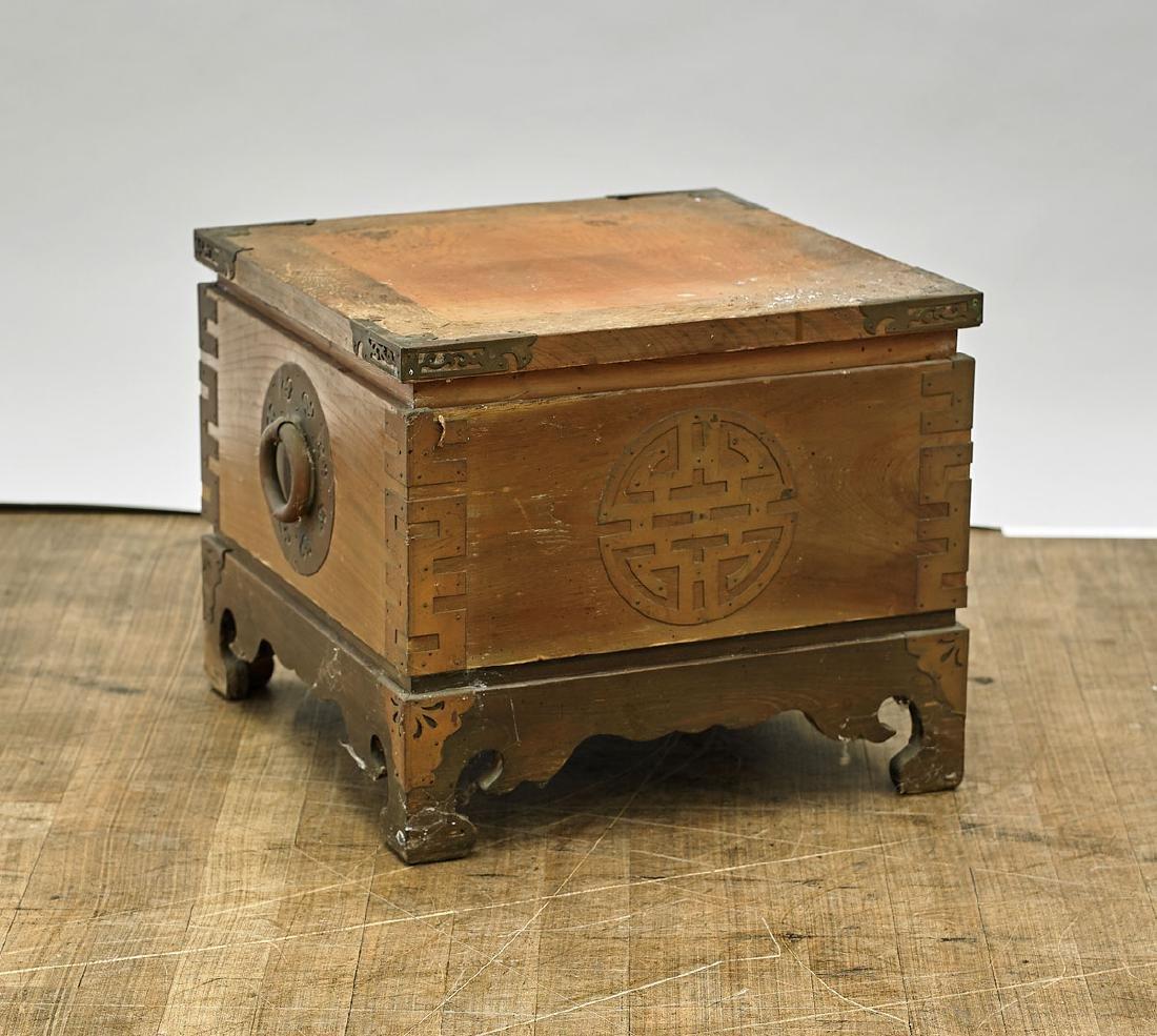 Low Antique Korean Wood Storage Chest