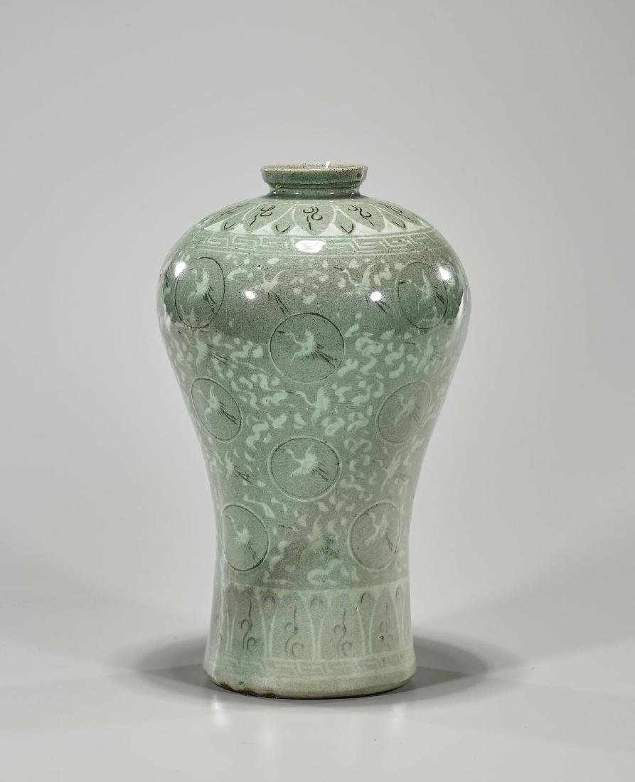 Korean Inlaid Celadon 'Crane' Maebyeong
