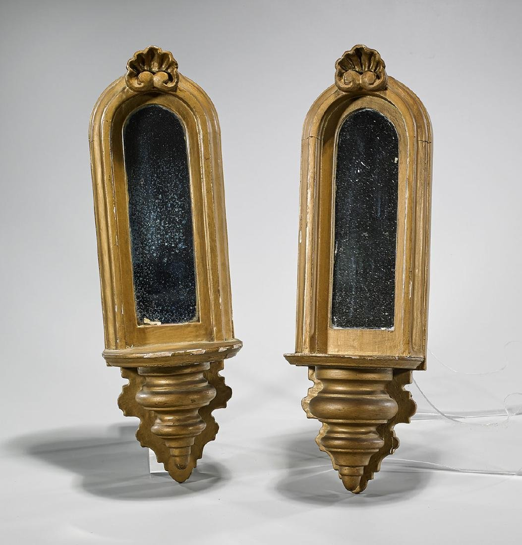 Pair Antique Continental Gilt Wood Wall Mirrors