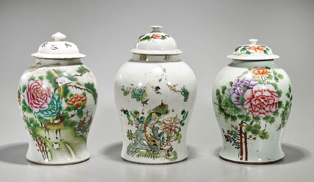 Group of Three Old Chinese Enameled Porcelain Baluster