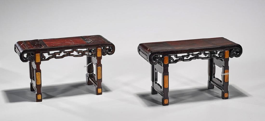 Pair Old Chinese Miniature Wood Altar Tables